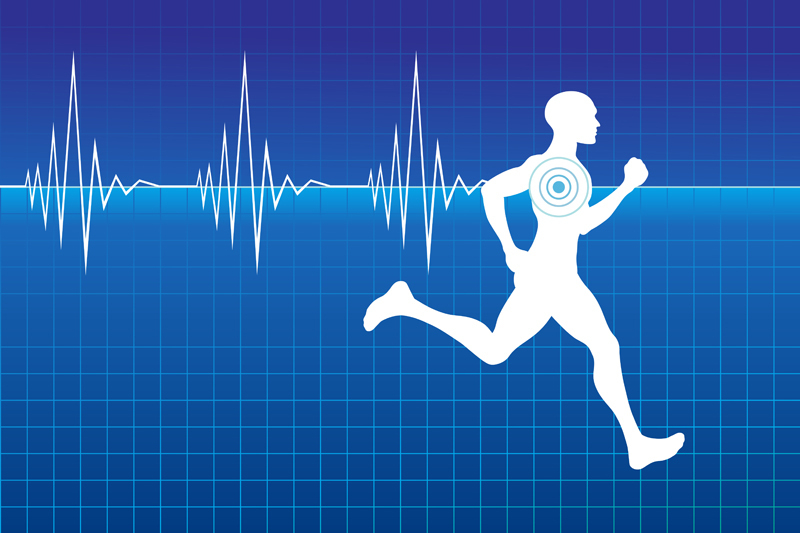 Athlete running with a heartbeat monitor